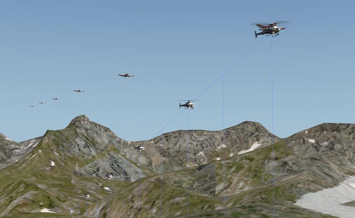 ricostruzione realizzata dall'ANSV delle traiettorie dei due aeromobili a partire dai dieci secondi precedenti alla collisione (da animazione ANSV; per simulare il F-PMGV è stata utilizzata la sagoma di un aeromobile similare)